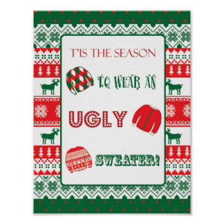Christmas - Ugly Sweater - Tacky - Sign