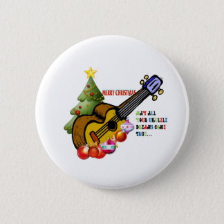 Christmas Ukulele Shirt 6 Cm Round Badge