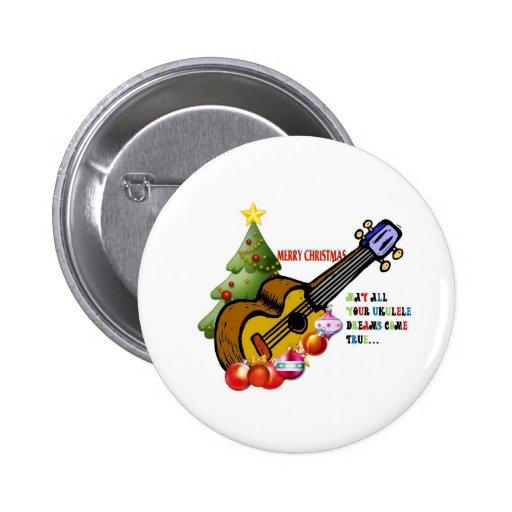 Christmas Ukulele Shirt Button
