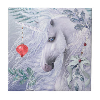 Christmas Unicorn Art Tile