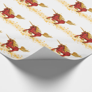 Christmas Unicorn (gold-red) Wrapping Paper