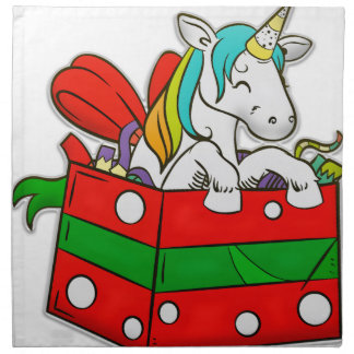 Christmas Unicorn in gift box Napkin