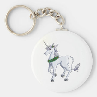 Christmas Unicorn Basic Round Button Key Ring