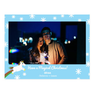 Christmas Unicorn Photo Frame Holiday Postcard