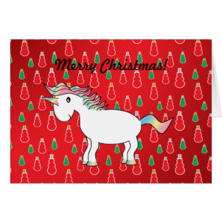 Christmas unicorn red snowman pattern cards