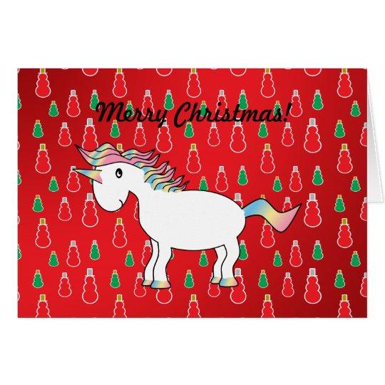 Christmas unicorn red snowman pattern card
