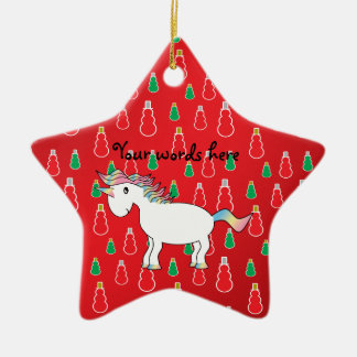 Christmas unicorn red snowman pattern christmas ornament