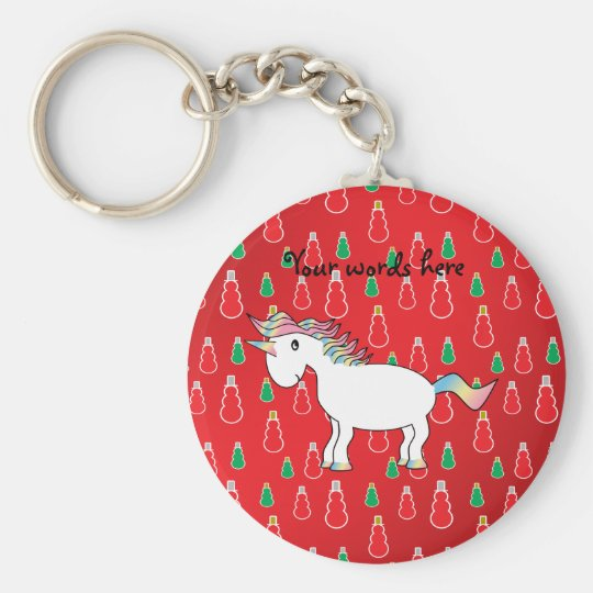 Christmas unicorn red snowman pattern key ring