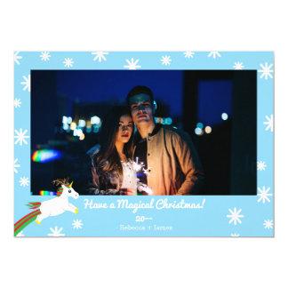 Christmas Unicorn Reindeer Frame Holiday Card