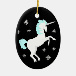 Christmas Unicorn with Snowflakes Christmas Ornament