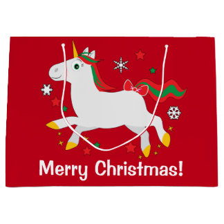 Christmas Unicorn with Stars Large Gift Bag