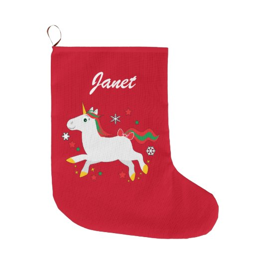 Christmas Unicorn with Stars Name Customisable Large Christmas