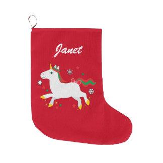 Christmas Unicorn with Stars Name Customizable Large Christmas Stocking