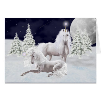 Christmas Unicorns Greeting Card