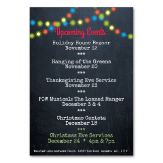 Christmas Upcoming Events Church Table Card