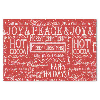 Christmas Verse Red and White Tissue Paper
