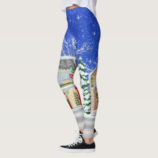 Christmas village Holiday fun leggings