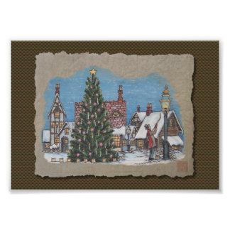 Christmas Village Lamplighter Photograph