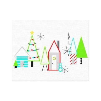 christmas village mid century modern canvas print