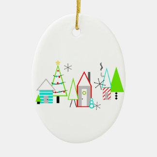 christmas village mid century modern ceramic oval decoration