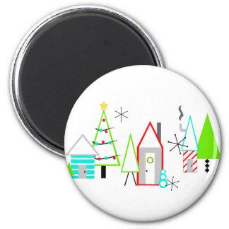 christmas village mid century modern magnet