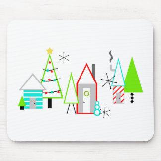 christmas village mid century modern mouse mat