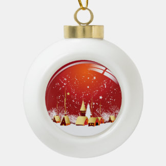 Christmas Village Scene Ceramic Ball Decoration