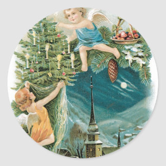Christmas Village with Angels Classic Round Sticker