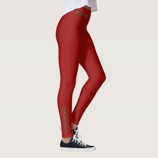 Christmas Vine Swirl red leggings-green vine Leggings