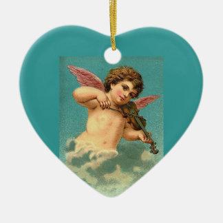 Christmas Vintage Angel Blessings Ornament Ceramic Heart Ornament