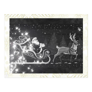 Christmas vintage black and white Santa decor Postcard