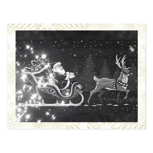 Christmas vintage black and white Santa decor Post Cards