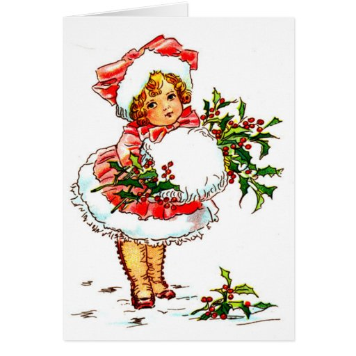 Christmas Vintage Girl Cards