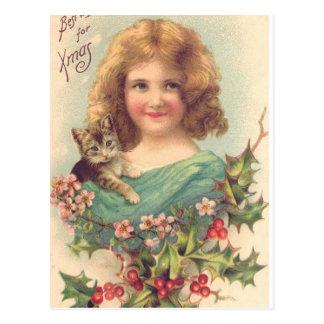 Christmas Vintage Girl With Cat Postcard