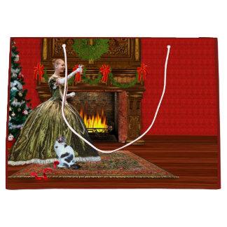 Christmas, Vintage Home, Holiday Toast Large Gift Bag