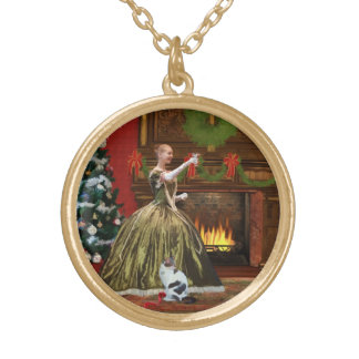 Christmas, Vintage Home, Holiday Toast Round Pendant Necklace