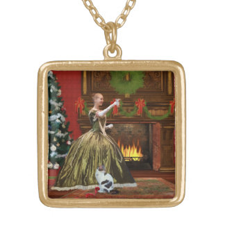 Christmas, Vintage Home, Holiday Toast Square Pendant Necklace