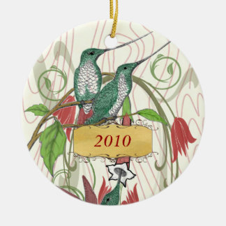 Christmas Vintage Hummingbirds Christmas Ornament