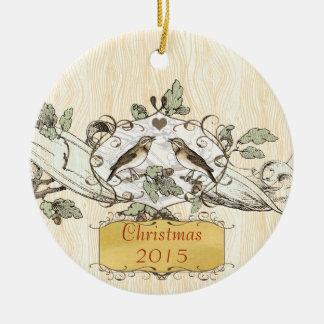 Christmas Vintage Love Birds Round Ceramic Decoration