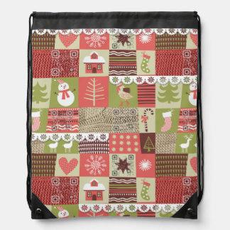 Christmas Vintage musical bag with funny videos Drawstring Backpacks