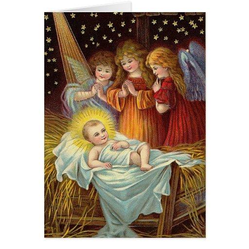Christmas Vintage Nativity Scene Card