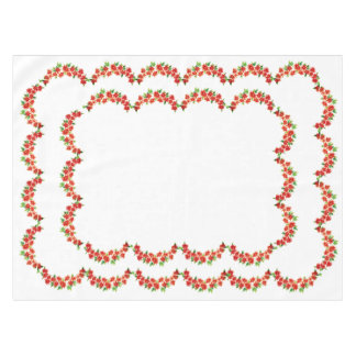 Christmas Vintage red Poinsettia Table Cloth