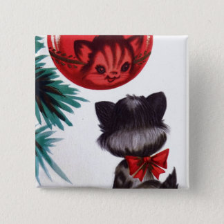 Christmas Vintage retro cat reflection fun button