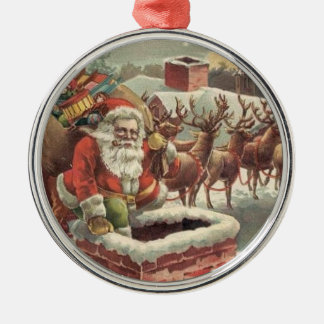 Christmas Vintage Santa Claus Reindeer Silver-Colored Round Decoration