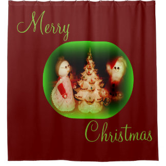 Christmas Vintage Scene Shower Curtain