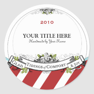 Christmas Vintage Tidings of Comfort & Joy Classic Round Sticker