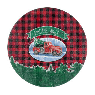 """Christmas Vintage Truck Add Name 12"""" Cutting Board"""