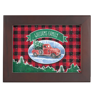 Christmas Vintage Truck Add Name and Photo Keepsake Box
