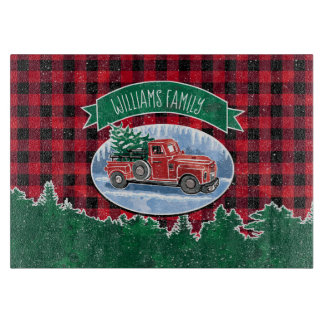 Christmas Vintage Truck Add Name Cutting Board