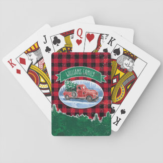 Christmas Vintage Truck Add Name Playing Cards